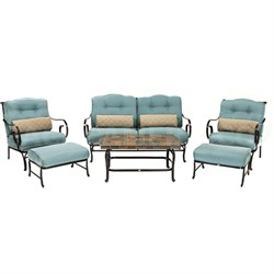 Oceana 6 Piece Patio Set in Ocean Blue with a Stone-top Coffee Table - OCEANA6PC