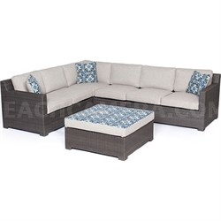 Metropolitan 5-Piece Sectional Set in Silver with Gray Weave - METRO5PC-G-SLV