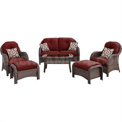 6pc Woven Deep Seating Set: Loveseat 2 chairs 2 ottomans 1 coffee tbl