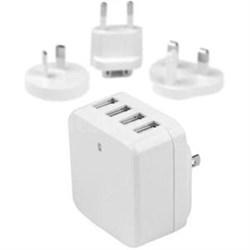 4PORT USB TRAVEL WALL CHARGER 34W 6.8A 110V/220V WHITE