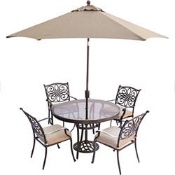Traditions 5PC Dining Set: 4 Chairs 48  Glass Table Umbrella and Stand
