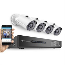 HD 720P 4CH Video Security System w/ Night Vision Cameras - White - OPEN BOX