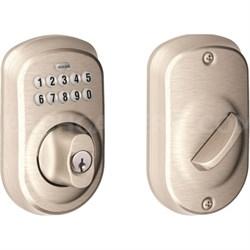 Keypad Deadbolt - Plymouth Trim, Satin Nickel -  BE365 Ply 619