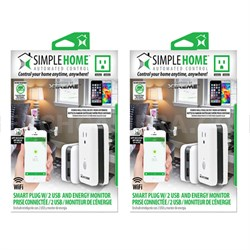 2-Pack WiFi Smart Controlled Wall Outlet w/ 2 USB and Energy Monitor
