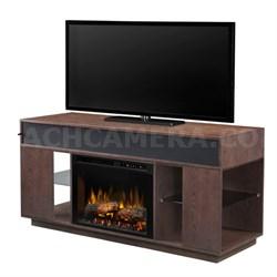 Audio Flex Lex Electric Fireplace Media/Stereo Console - Logs, Grey Cerused