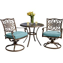 Traditions 3pc Dining Set:32 Cast Round Table2 Chair Rockersblue cush