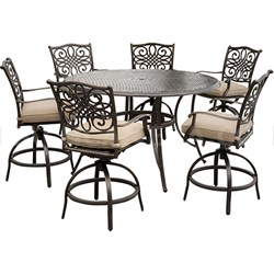 Traditions 7-Piece High-Dining Bar Set w/ 56 Cast-top Table - TRADDN7PCBR