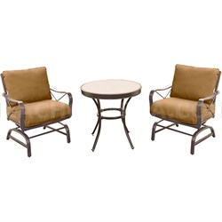 Summer Nights 3PC Dining Set: 2 Aluminum Rockers with 30  Glass Table