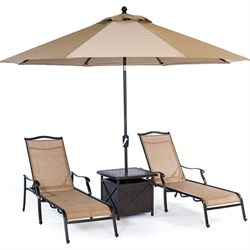 Monaco 4-Piece Chaise Lounge Set with Side Table and Umbrella - MONCHS4PC-SU