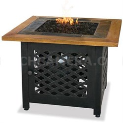 Square LP Gas Outdoor Firebowl with Slate and Faux Wood Mantel - GAD1391SP