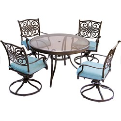 Traditions 5PC Dining Set: 4 Swivel Chairs (Blue) and 48  Glass Table