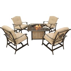 Traditions 5pc Fire Pit Set: 4 Cush. Rockers; 1 Gas Fire Pit w/lid