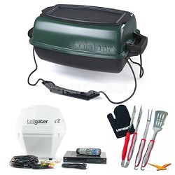 Griddlin' Grill Portable Gas Grill, Tailgater TV Receiver, and Tool Set Bundle
