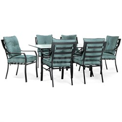 7pc Dining Set: 6 Stationary Chairs 1 Dining Table