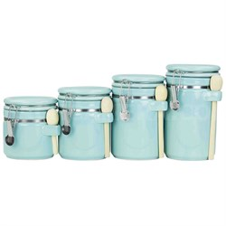 CS47190 4PC Ceramic Canister Set W/Spoon (Turquoise)