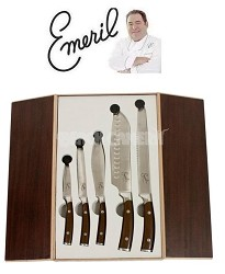 Forged German Steel Cutlery 5 Piece Set in Wooden Storage Box (Brown Handles)