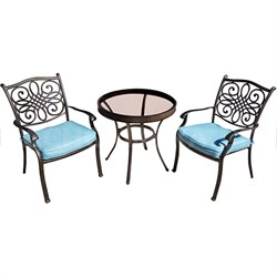 Traditions 3PC Bistro Set: 2 Chairs (Blue) and 30  Glass Table