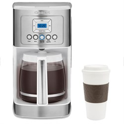 DCC-3200W Perfect Temp 14-Cup Programmable Coffeemaker White w/ Copco 16oz. Mug