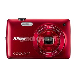 COOLPIX S4300 16MP 3-inch Touch Screen Digital Camera - Red