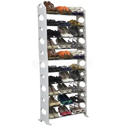 30-Pair Easy To Assemble Shoe Rack - White - NEW TORN BOX