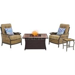 Hudson Sq 3pc Fire Pit Set with Tan Tile Top