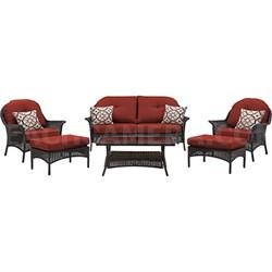 San Marino 6-Piece Seating Set in Crimson Red - SMAR-6PC-RED