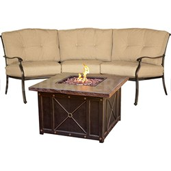 Traditions 2pc Fire Pit Set: 1 Durastone Fire Pit 1 Crescent Sofa