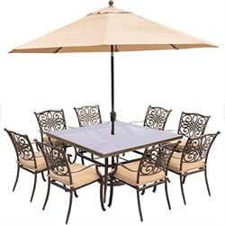 Traditions 9PC Dining Set: 8 Chairs60  Square Glass Table Umb Stand