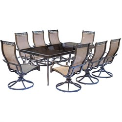 Monaco 9-Piece Dining Set with Swivel Rockers and Dining Table- MONDN9PCSWG