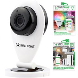 Wi-Fi Security Camera with Motion Detection Start Kit w/ Smart LED Bulb + Outlet