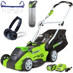 """40V 16"""" Cordless Lawn Mower w/ HP23 Headphones, 24oz Bottle & Safety Glasses Kit"""