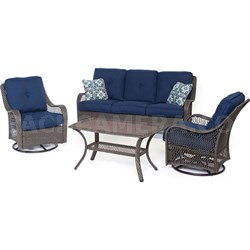 Orleans 4-Piece Seating Set in Navy Blue with Gray Weave - ORLEANS4PCSW-G-NVY