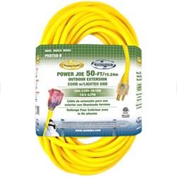 Power Joe 14 Gauge 50 Ft Low Temp Extension Cord with Lighted End - PJEXT50-B