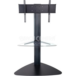 Flat Panel TV Stand (Black) for 32-inch to 50-inch TVs w/ One glass shelf