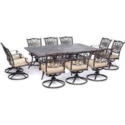 11pc Dining Set: 10 Swivel Rockers 60x84  Cast Table