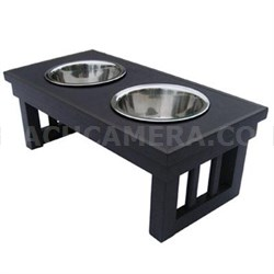 Large Double Raised Dog Bowl in Espresso - EHHF202L