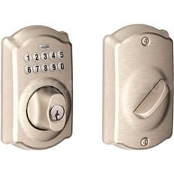 Keypad Deadbolt - Camelot Trim, Satin Nickel -  BE365 Cam 619