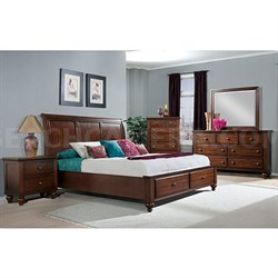 Newport Storage 5 PC: Queen Bed Dresser Mirror Chest Nightstand - 98110A5Q1-CH