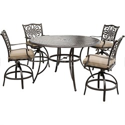 Traditions 5PC High Dining Set:4 Swivel Bar Chrs56  Round Cast Bar Tbl