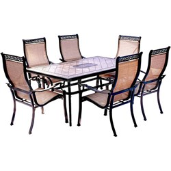 Monaco 7PC Dining Set: 6 Sling Chairs and 40 X68  Porcelain Tbl