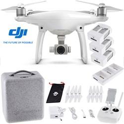 Phantom 4 Quadcopter Drone + 2 Extra Batteries (Total 3 batteries); Charging Hub