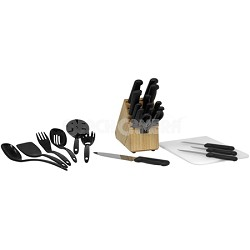 Basics 25-Piece Knife Block Set with Black Handles - 49125