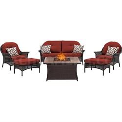 San Marino 6-Piece Fire Pit Lounge Set in Crimson Red - SMAR6PCFP-RED-TN