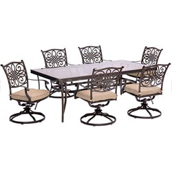 Traditions 7PC Dining Set: 6 Swivel Chairs and 42 x84  Glass Table