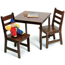 3-Piece Set Child's Square Table and 2 Chairs in Walnut - 514WN