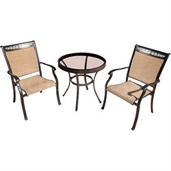 3pc Bistro Set: 2 Sling Dining Chairs 30  Glass Top Table