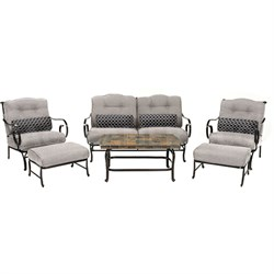 Oceana 6pc Seating Set: sofa 2 side chairs coffee table 2 ottomoans