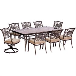 Traditions 9PC Dining:6 Chrs2 Swvl Chrs 42 x84  Glass Table
