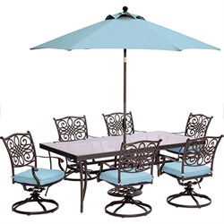 Traditions 7PC Dining: 6 Swl Chrs(Blue)42 x84  Glass Table Umb Stand