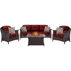 Gramercy 4-Piece Woven Fire Pit Set with Wood Grain Tile Top - GRAM4PCFP-RED-WG